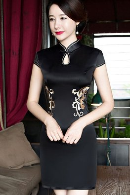 Black / Red Silk Lace Back Cheongsam
