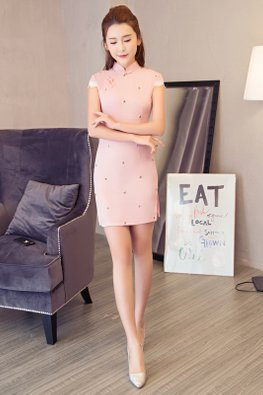 Pink Cap Lace Sleeves Mini Cheongsam (Express)