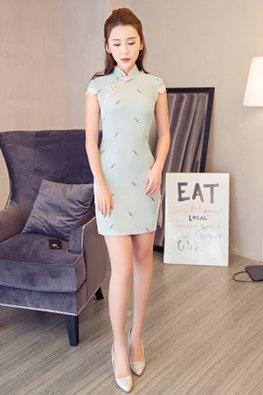 Pink / Mint Cap Lace Sleeves Mini Cheongsam