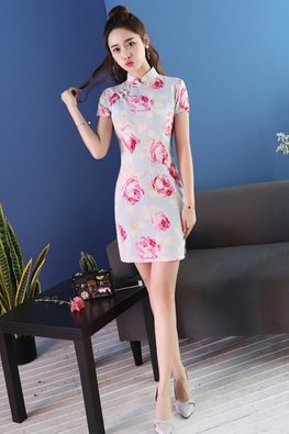 Rose Print Mini Cheongsam