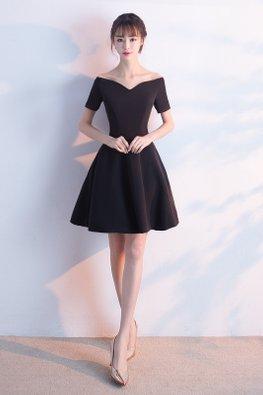 Black Off Shoulder Wide V-Neck A-Line Dress