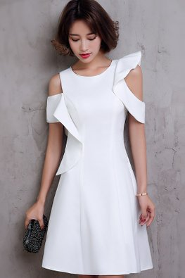 White Open Shoulder Asymmetrical Sleeves A-Line Dress