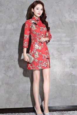 Red Black Trimmings 3/4 Sleeves Floral Cheongsam