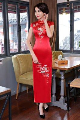 Red Mandarin Collar Cap Sleeves Floral Embroidery Cheongsam