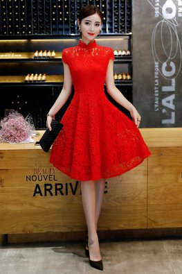 Red Mandarin Collar Cap Sleeves A-Line Cheongsam (Express)