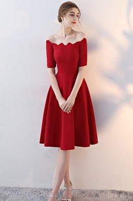 Red Off Shoulder Wavy Neckline A-Line Dress