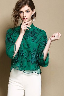 Purple / Green Tulle Embroidery Cheongsam Top