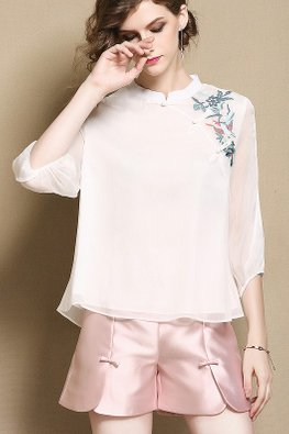 White Mandarin Collar Embroidery Cheongsam Top