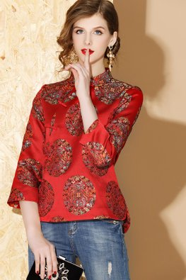 Red / Yellow Oriental 3/4 Sleeves Cheongsam Top