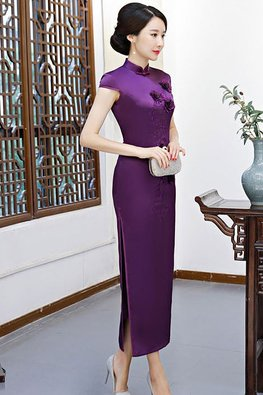 Assorted Colours Mandarin Collar Floral Embroidery Cheongsam