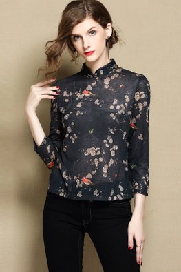 Dark Blue Floral Sheer Cheongsam Top