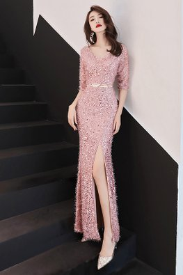 Pink V-Neck Elbow Sleeves High-Slit Gown