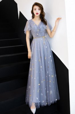 Grey Blue V-Neck Twinkle A-Line Gown
