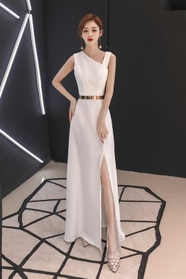 White / Black Slant V-Neck High Slit Gown