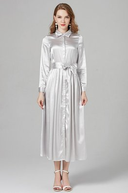 Silver Collar Long Sleeves Button Dress
