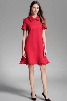 Red Collar Mermaid A-Line Dress
