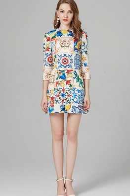 Colourful Abstract Print 3/4 Sleeves Mini Dress