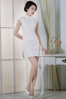 White Cap Sleeves Lace Cheongsam
