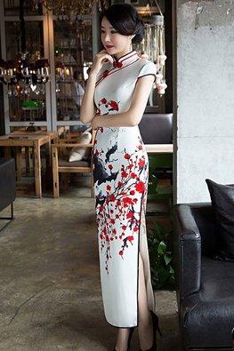 White Mandarin Collar Red Black Knots High Slit Cheongsam