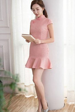 Pink / Red Cap Sleeves Mermaid Lace Cheongsam