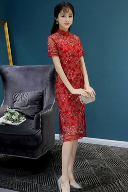 Red Illusion Neckline Lace Cheongsam