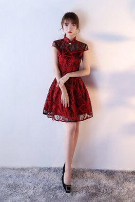 Red Black Lace Modern A-Line Cheongsam