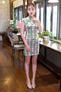 Green Cap Sleeves Checked Embroidery Cheongsam