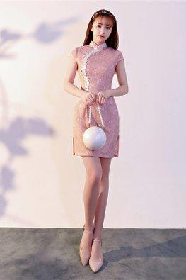 Pink Mandarin Collar White Lace Pearl Cheongsam