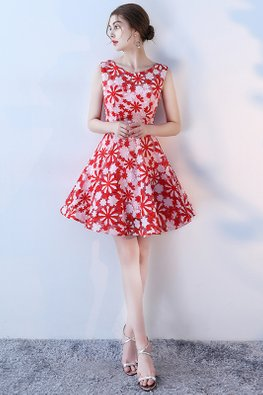 Red White Round Neck Floral A-Line Dress