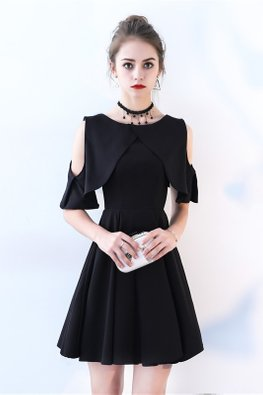 Black / Wine Red Cold-Shoulder A-Line Dress
