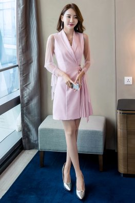 Pink Lapel Collar Illusion Sleeves Pleated Dress