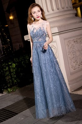 Grey Blue Illusion Embroidery Sequins Gown (Express)