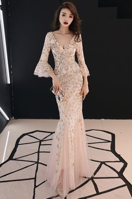 Champagne Gold V-Neck Trumpet Sleeves Sequins Mermaid Gown