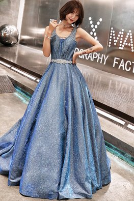 Blue Glitter Princess Lace-Up Gown
