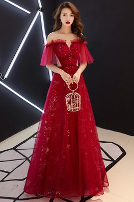 Wine Red Illusion Sweetheart Lace-Up Gown