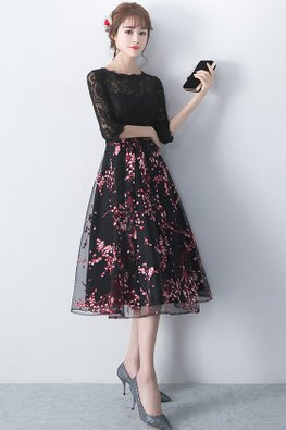 Black Jewel Neckline Elbow Sleeves A-Line Lace Gown