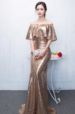 2-pc Gold Off-Shoulder Sequin Floor Length Mermaid Gown