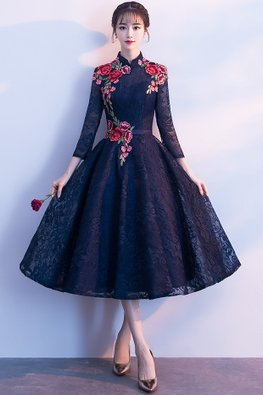 Navy Blue Mandarin Collar 3/4 Sleeves Red Floral Lace Gown