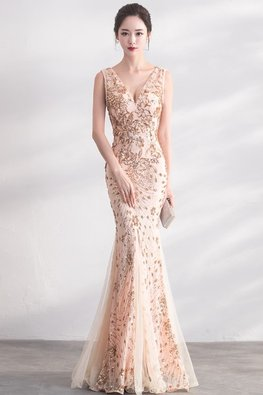 Almond Gold V-Neck Trumpet Gown