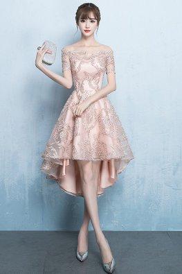 Assorted Colour Off-Shoulder Hi-Lo Gown