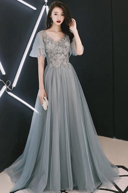 Grey Blue V-Neck Beaded Embroidery Layered Sleeves Gown