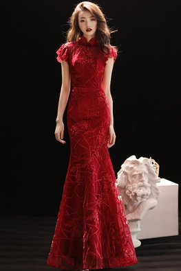 Red Mandarin Collar Mermaid Gown