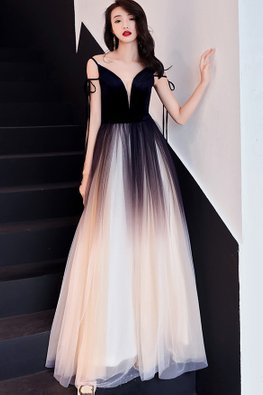 Black Ombre Plunging Neckline Lace-Up Gown