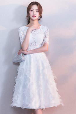 White Jewel Neckline Feather Lace A-Line Dress (Express)