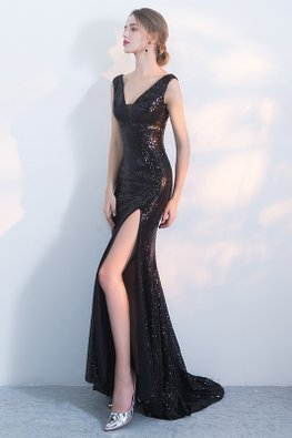 Assorted Colours V-Plunge High Slit Mermaid Gown