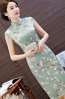 Green / Pink Mandarin Collar Cherry Blossoms Cheongsam