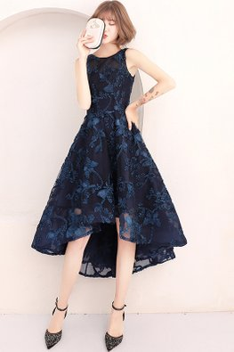 Assorted Colours Round Neck Lace Embroidery Hi-Lo Gown