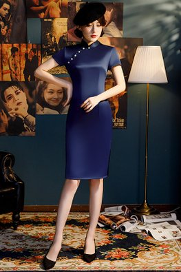 Dark Blue Mandarin Collar Pearl Side Slit Cheongsam