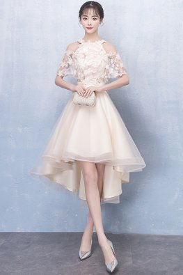 Champagne Halter Neckline Embroidery Hi-Lo Gown