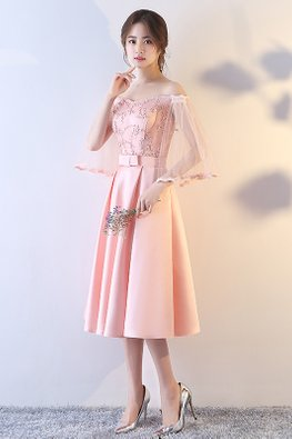 Pink Off-Shoulder Wide Sleeves Embroidery Gown